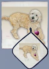 Golden Doodle Pot Holder/Kitchen Dish Towel Set