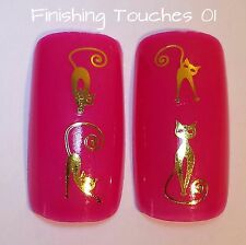 Nail Art Water Transfer- Gold Skinny Cat Decal #269 Y-063 Sticker Metallic
