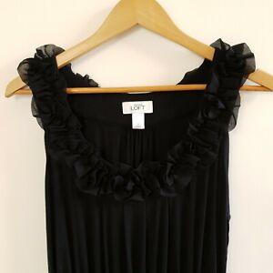 Ann Taylor LOFT Women's Dress Black Jersey Sleeveless Chiffon Size M