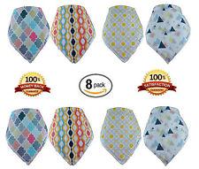 Baby Bandana Drool Bibs, (8-Pack) Baby Gift Set, 100% Organic Cotton, FAST SHIP