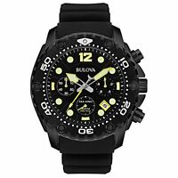 Bulova Sea King Chrono Black Dial Black Rubber Strap Quartz Mens Watch 98B243