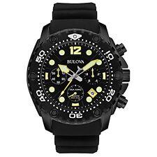 Bulova Sea King Chrono Black Dial Black Rubber Strap Quartz Mens Watch 98B243