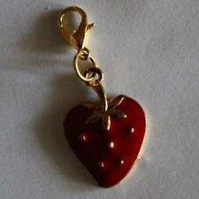 ccccccPOPULAR STRAWBERRY  GOLD PLATED/ RED ENAMEL CLIP-ON-CHARM BAGS/SCHOOL BAGS