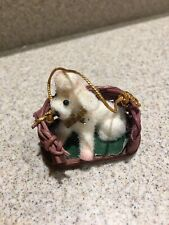 Flocked White /& Metallic Silver Tone Prancing French Poodle Christmas Ornament