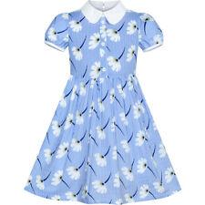 Girls Dress School Uniform Blue Flower Striped Print White Collar Size 4-10