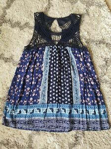 Entro Large Paisley Blue Crochet Tunic Top