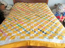 VINTAGE HAND STITCHED COTTON QUILT TOP FEED SACKS 4 POSTAGE SIZE SQUARES