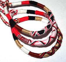 Lot de 3 Bracelet brésilien Amitié coton Friendship Macramé Porte Bonheur rouge