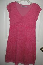 Athleta red paisley dress M 8 10 womens cotton/poly floral