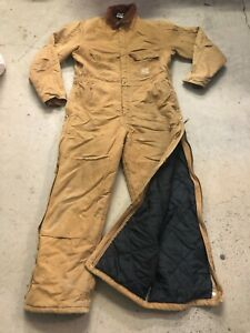 MENS 48 - Vtg Carhartt X02 Duck Arctic Double Knee Coverall Bib USA