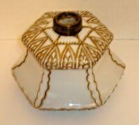 "Antique Art Deco Hexagon Art Glass Kerosene Oil Lamp ""Font Only"" Vintage Beauty!"