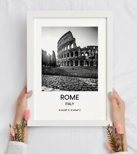 Rome Travel Print Black and White Landmark Wall Art Décor Poster Gift