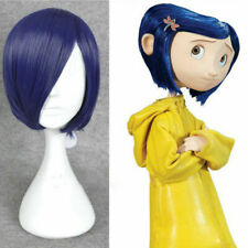 Coraline Cosplay Wig Short Bob Straight Blue Hair Halloween Full Wigs