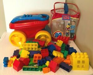 Mega Bloks First Builders Lot Large Building Blocks and Scoop Up Wagon 80 Pieces