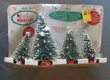 10/09 Vintage Christmas Miniatures Flocked Bottle Brush Tree Set Arthur Hahn
