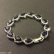 "GB Blue pear sapphires silver links (white gold gf) bracelet 7.25"" BOXED"