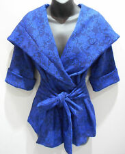 Jacket Small Blue Black Floral Wrap around Tie Waist  Hoodie Blazer NWT DC426