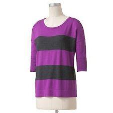 NWT Rock & Republic Striped Lurex Sweater Purple gray stripe size large L spark