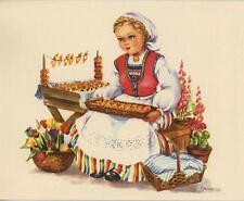 VINTAGE GIRL FOXGLOVE ANISE SEED COOKIES RECIPE 1 AUTUMN PUMPKINS SHEEP EGG CARD