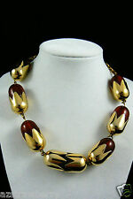 """Gold Tone metal Amber color crowned beads fashion collar Necklace 17"""" $0sh nice!"""