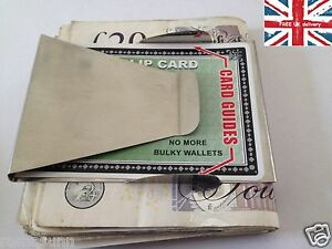 NEW STAINLESS STEEL MONEY CLIP DOUBLE SIDED CREDIT CARD HOLDER ULTRA THIN SILVER