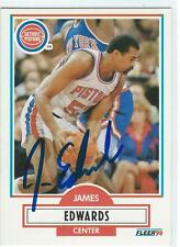 James Buddha EDWARDS Signed 90/91 Fleer Card DETROIT PITSONS