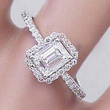 14k solid white gold emerald cut diamond engagement ring halo deco bridal 1.50ct