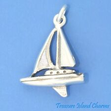 SAILBOAT SAIL BOAT YACHT SAILING 3D .925 Solid Sterling Silver Charm Pendant
