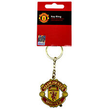 Manchester United FC Gold Crest in Metallo Portachiavi Portachiavi Portachiavi Nuovo Regalo Natale