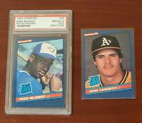 1986 Donruss Fred McGriff PSA NM-MT & Jose Canseco Rated Rookie 2 RC Lot