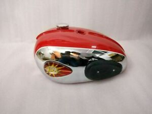 BSA A65 Thunderbolt Lighting Red & Chromed Painted Chrome Fuel Petrol Tank