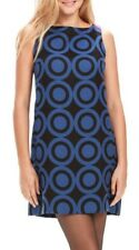 Desigual Vest_Natalia Flare Black Royal Blue Geometric Print Dress UK 14 ES 42