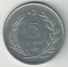 5 Lira 1977 Turkey TÜRKİYE CUMHURİYETİ   KM# 905