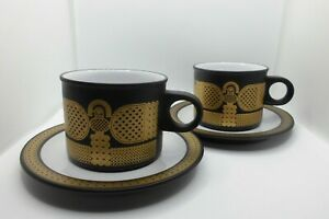 "Hornsea Vintage ""Midas"" 2 x Tea Cups and Saucers (3 of 3)"