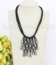 """16"""" 5row 13mm Baroque black freshwater pearls Black leather necklace j11219"""