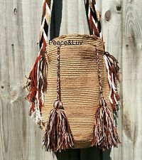 Authentique colombiano tribus Wayuu Mochila dos sebácea Unicolo Beige