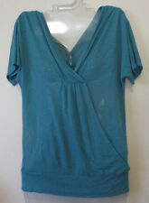 Womens XS Mossimo Teal Blue V-Neck Top Knit Stretch Dolman Sleeve Banded Bottom