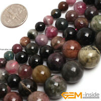 """Natural Multi-Color Tourmaline Gemstone Round Beads For Jewelry Making 15""""Strand"""