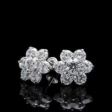 1.50CT Created Diamond Floral Cluster Earrings 14k White Gold Studs Screwback