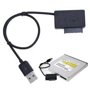 USB 2.0 to Slimline SATA 7+6 13pin Laptop CD DVD Rom Optical Drive Adapter Cable