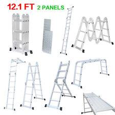 12.1FT Multi-Purpose Extendable Aluminum Foldable Ladder 4-Folds 12-Rung 2-Panel
