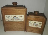 Set of Two Vintage Wood Canisters with Plastic Liners