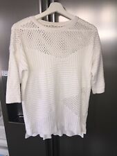 Womens RIVER ISLAND Fine Knitted Top 3/4 Sleeve White Sz 8