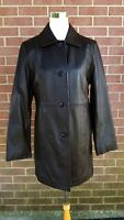 Women's Jaclyn Smith Black Classic Button Up Leather Jacket Size Small