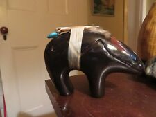 vintage southwest Native clay bear Fetish w arrow feather signed initials TN