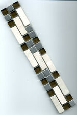 Mosaikbordüre Fliesenbordüre 4,7x30x0,8cm hellbeige/braun Marmor/Glas/Edelstahl