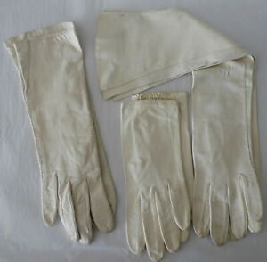 """Vintage 3 Pairs White Kid Leather Opera Gloves 7"""" 11"""" 18"""" Long Made in France"""