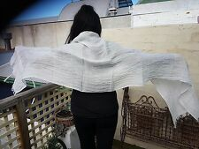 """Shawl 100% Linen ARINELLA Oyster Stripe by Libeco of Belgium 60 x 210 cm 24x82"""""""