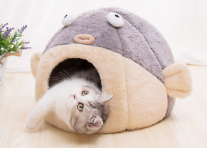 Cat Pet Dog Warm House Cave Beds for Indoor Cats Cozy Wool Igloo Nest Kennel
