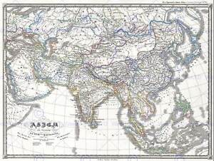 1855 PERTHES MAP ASIA AT END THE 17TH CENTURY VINTAGE POSTER ART PRINT 2919PY